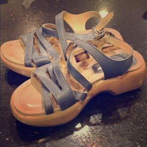 Dansko strappy sandals in blue leather n tan sole